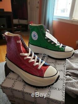 Converse Run Star Hike Hi JW Anderson Glitter Pink Blue Green 164842C Size 5.5 W