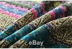 Cozy Blue Teal Aqua Purple Pink Green Tropical Southwest Bohemian Boho Quilt Set