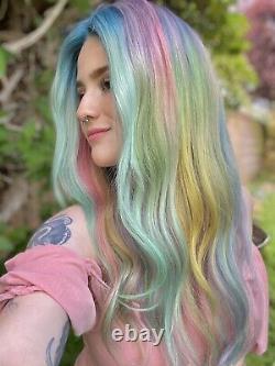 Custom Colored 100% Human Hair Wig Multicolor Blue, Pink, Green, Purple Melt