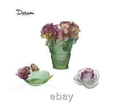 DAUM SET Rose Passion Vase, Flower, Small Bowl FRANCE CRYSTAL New Box Green Pink