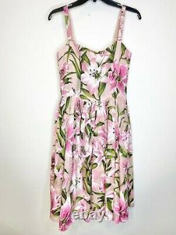DOLCE & GABBANA Pink Green Floral Lily Print Silk Organza Boning Top 42IT US6 S