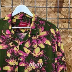DS NEW Supreme Daisy Rayon Shirt Green/Pink L LARGE bogo box logo