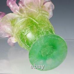Daum France Crystal glass Pate De Verre 7 Vase Pink Roses green leafs signed