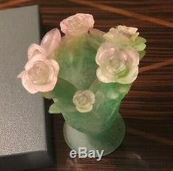 Daum Nancy Vase Green with Pink Roses Footed NIB