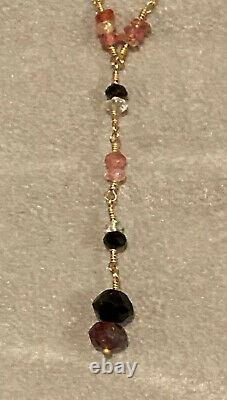 Delicate Pink Green Sapphire Station 14k Gold Y Necklace Fortunoff