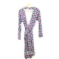 Diane Von Furstenberg Wrap Dress 8 New Julian Green Pink Print Silk DVF Womens