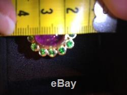 Elizabeth Locke 19k gold ring. Pink Tourmaline Cabochon & Green Tsavorites
