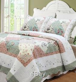 FLORAL PATCHWORK 3p Full Queen QUILT CELIA GREEN PINK SHABBY WHITE CHIC COTTAGE