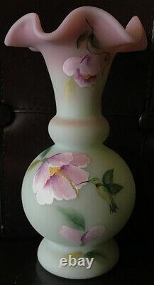Fenton Lotus Mist Burmese Pink Green Vase Robinson 7.5 NIB Mint Hummingbird