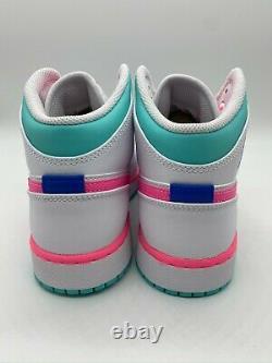 Free Ship Nike Air Jordan 1 MID White Digital Pink Green Gs Sizes 555112-102
