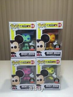 Funko Pop! Disney Mickey Mouse Bundle of 4 Blue Green Purple Pink Orange Yellow