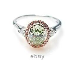 GIA 1.45ct Natural Argyle 7p Fancy Green & Pink Diamond Engagement Ring 18K Oval