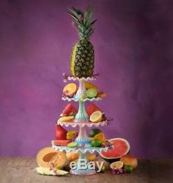 GLITTERVILLE RUFFLE CAKE PLATE Vintage Glossy Pink Green Wedding Birthday Set 4