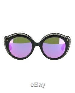 GUCCI CRYSTAL LIPS 0214 Cat Eye Black Green Pink Mirrored Stud Sunglasses GG0214