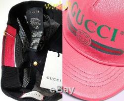 GUCCI pink M/58 green SYLVIE logo leather & mesh Baseball Hat cap NWT Auth $595
