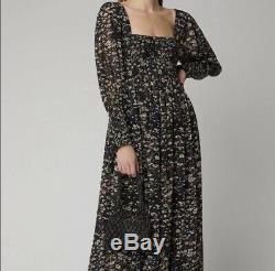 Ganni Shirred Floral Georgette Maxi Dress Size 10 Green Black Pink Flowy