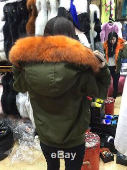 Genuine Rex Rabbit Fur Lining Raccoon Trim Hooded Nylon Pilot Jacket Parka Coat