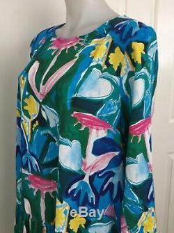 Gorman Neighbours Garden Dress 12 Fits 14 Too Green Blue Pink 3/4 Sleeve BNWT