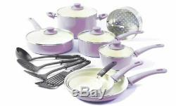 GreenLife 16 Pc Ceramic Cookware Set Healthy Green Soft Grip Frypans Turquoise