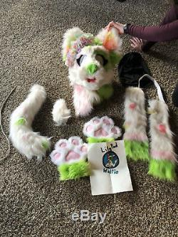 Green And Pink fursuit head Canine