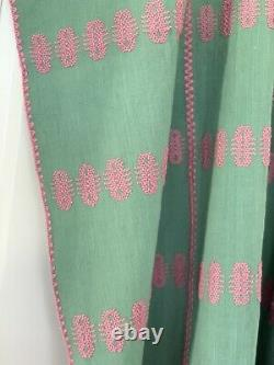 Green Pink Embroidered Mexican Huipil Cotton Kaftan Pippa Dress