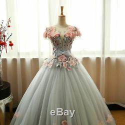 Grey Green Quinceanera Dresses Puffy Tulle With Pink Flowers Lace Prom Sweet 16