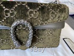 Gucci Dark Olive Green Pink GG Embossed Velvet Dionysus Small Shoulder Bag
