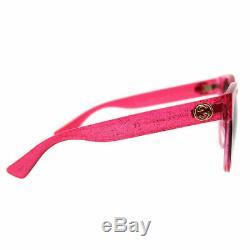 Gucci GG0035S 005 Pink Glitter Plastic Round Sunglasses Green Gradient Lens