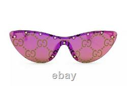 Gucci GG0666S 666 003 Gold Pink Mirror Logo Green Lens Women Cateye Sunglasses