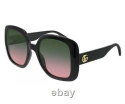 Gucci GG0713S 002 Black Gold Green Pink Gradient Women Sunglasses Square Large