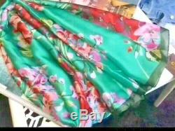 Gucci L70 W35 inches Floral Silk Scarf 2018 Rectangular Green/ Pink Branding