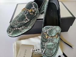 Gucci New Jordaan Loafer Pump Flats Green Pink Eur 37.5 / US 7.5