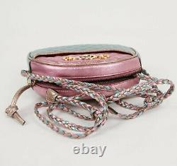 Gucci Pink/Green Metallic Leather Horsebit GG Mini Crossbody Bag 534951 5879