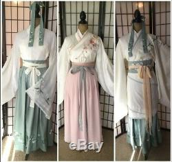 Hanfu set Embroidery Chinese Quju Ruqun Shirt Skirt Belt Yellow White Pink Green
