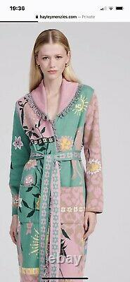 Hayley Menzies Enchanted Leopard Pink And Green Long Cardigan Coat New With Tags