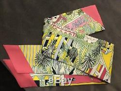 Hermes New Maxi Twilly Long Scarf Silk Animapol Pink Yellow Green