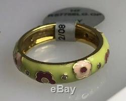Hidalgo Green/Pink Flower Ring With Dias (New) 18kt Yg. Ring Size 6.5 (50% OFF)