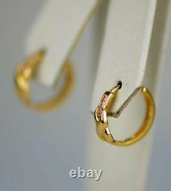 Hoop 14k yellow gold round CZ earrings huggies huggie earring