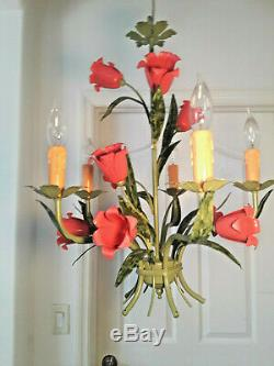 ITALY TOLE STYLE COLOR PINK FLOWERS green finish 5 light Chandelier PLUGIN OP