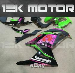 KAWASAKI NINJA300 NINJA 300 Fairing Set Fairings Kit Green Pink Flower 26