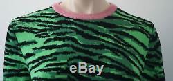 KENZO X H&M Green & Black Tiger Pattern Pink Hem Knitwear Jumper Sweater M BNWT