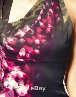Karen Millen Statement Purple Pink Green Floral Sexy Rare Galaxy Dress 10 Bnwt