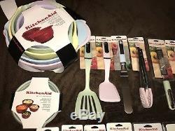 KitchenAid Pastel Colors 34pc Mixing Bowls Whisk Shears Spatula Green Pink New
