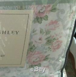 LAURA ASHLEY Queen Comforter Set 4P BEAUTIFUL FARMHOUSE FLORAL green pink
