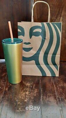 LOT OF 6 Starbucks 2020 Pink, Gold, Green Stainless Steel 16oz Tumblers BUNDLE
