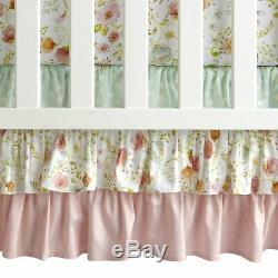 Lambs & Ivy Sweet Spring Pink/White/Green Floral 6-Piece Baby Crib Bedding Set