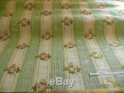 Lee Jofa Valentina Lampas Clover Green & Pink Rose Lampas Stripe Msrp$396/y
