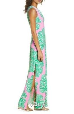 Lilly Pulitzer Carlotta Maxi Dress Who Let The Fronds Out Pink/Green Size 10 NWT