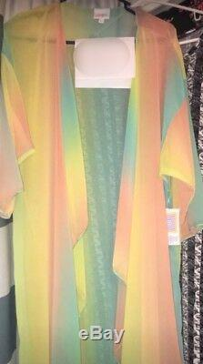 Lularoe Shirley Ombré Pink Yellow Orange Green Sherbet Rainbow Unicorn L NWT