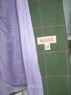 MAGEE Ladies PORTNOO Tweed Wool Coat 10 UK Green, pink check. Rrp over £450